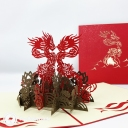 Four Dragons And Four Fish 3D Handmade Pop Up Card #3837