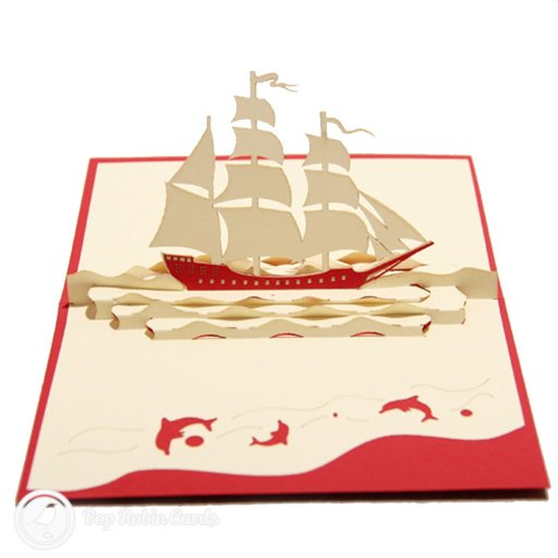 This exciting nautical greetings card opens to reveal a 3D pop-up design showing a galleon ship sailing at sea.