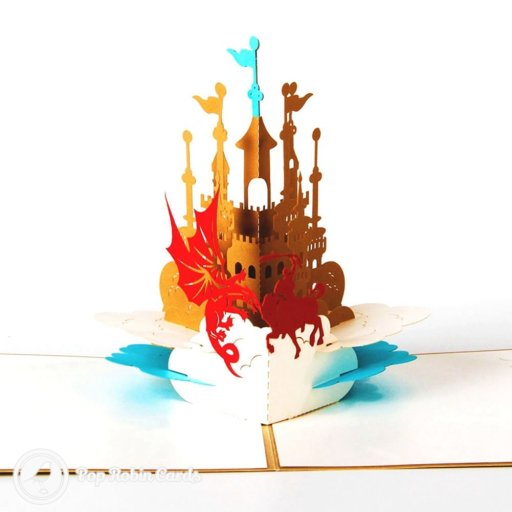 This dramatic greetings card shows St George and the famous dragon in front of a majestic castle in a 3D pop-up design. The cover has a stencil design showing the castle's towers.