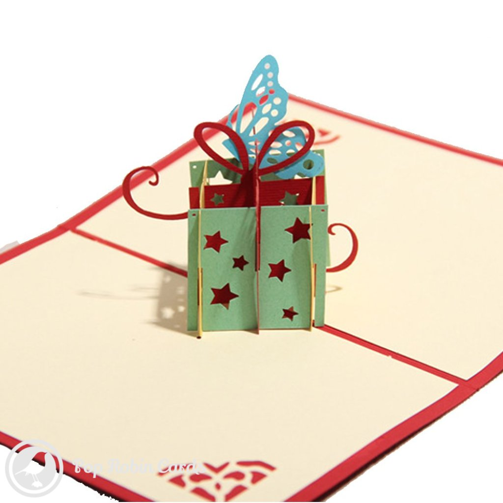 Gift box & Butterfly & Stars 3D Birthday Card 1356