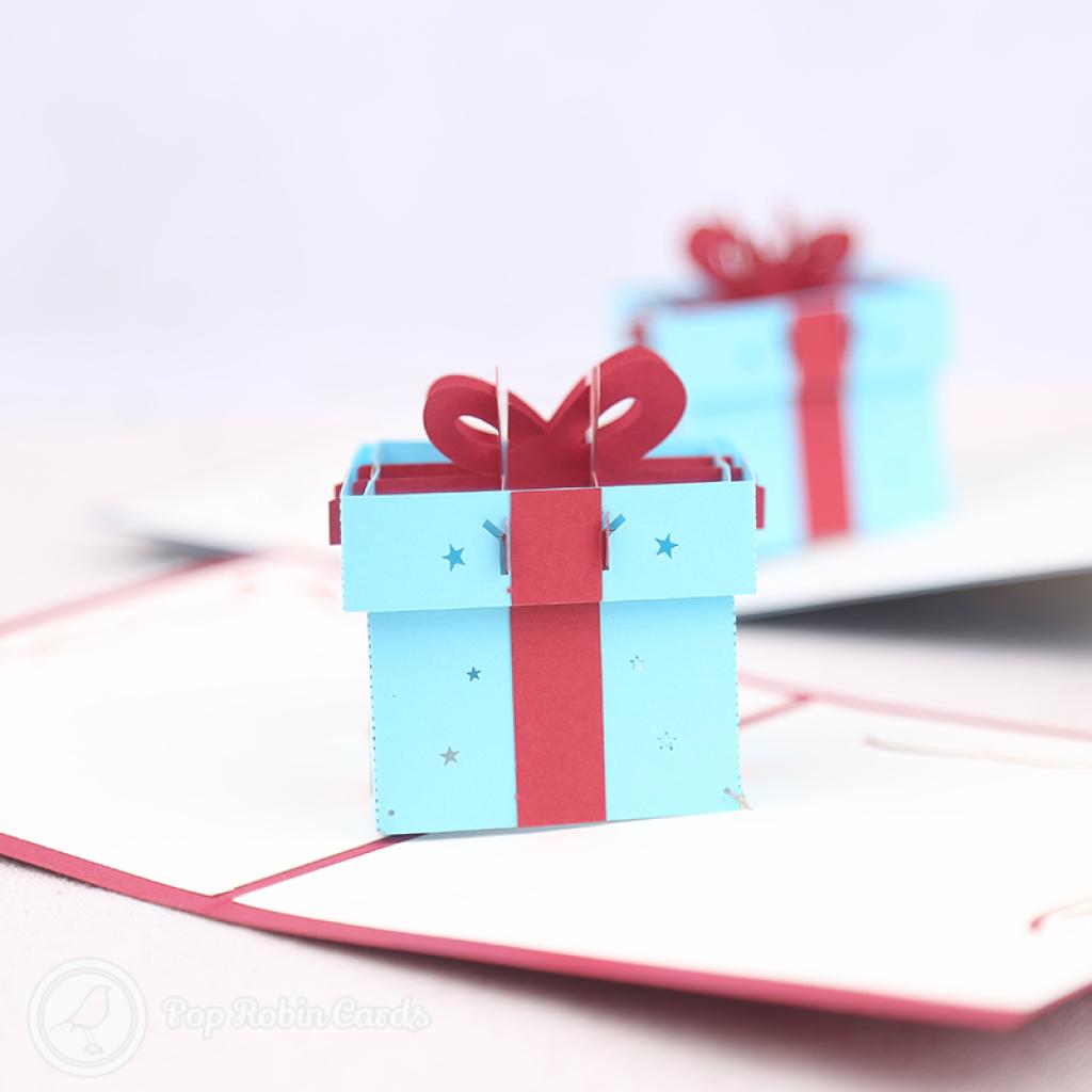 Cute Gift Box With Ribbon Handmade 3D Card #3182