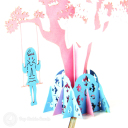 Girl On Swing Under Tree Handmade 3D Card #3147