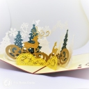 Golden Reindeer In Winter Forest 3D Pop-Up Christmas Card #2749
