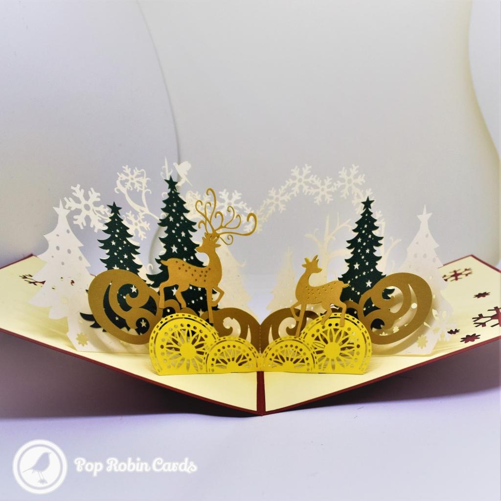 Golden Reindeer In Winter Forest 3D Pop-Up Christmas Card #2751
