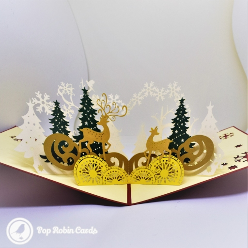 Golden Reindeer In Winter Forest 3D Pop-Up Christmas Card #2751