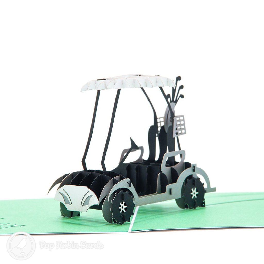 Golf Cart With Clubs Handmade 3D Pop-Up Card #2279