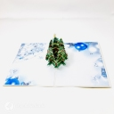 Green Christmas Tree & Blue Baubles 3D Pop Up Christmas Card #3656