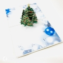 Green Christmas Tree & Blue Baubles 3D Pop Up Christmas Card #3658