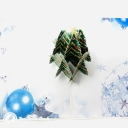 Green Christmas Tree & Blue Baubles 3D Pop Up Christmas Card #3660