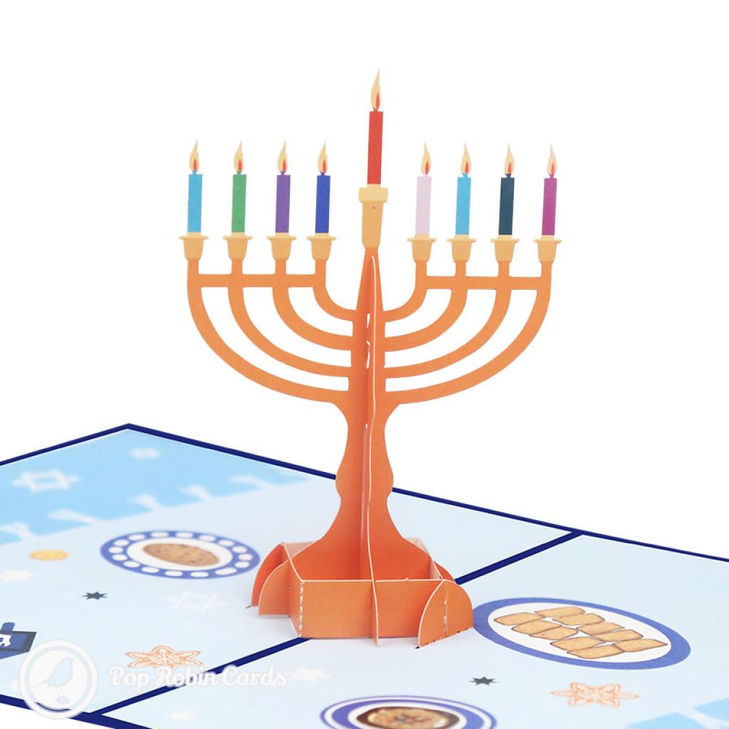 Hanukkah Menorah 3D Pop Up Card #3918