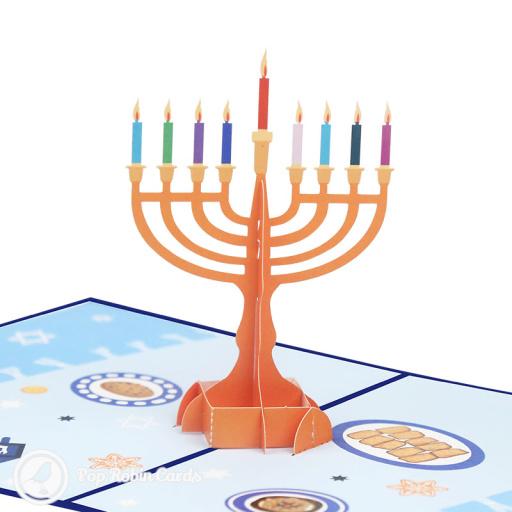 Hanukkah Menorah 3D Pop-up Card