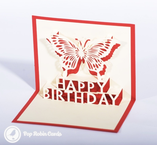 "This stylishing birthday card has a 3D pop-up design showing a butterfly and a ""Happy Birthday"" message. The cover has a stencil design also showing ""Happy Birthday"" and a butterfly."