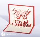 Happy Birthday Butterfly Handmade 3D Pop Up Card #3290