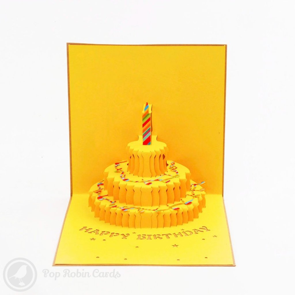 Happy Birthday Cake with Music Score 3D Pop-Up Greetings Card 1489