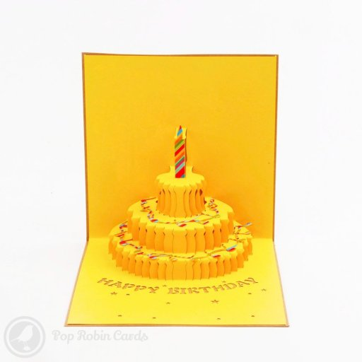"This brightly coloured birthday card is perfect for the musically minded with a stenciled musical score on the cover. The card opens to reveal a 3D pop-up design with a birthday cake and ""Happy Birthday"" message."