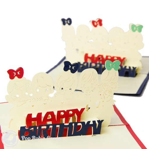 "This cute birthday card opens to reveal a 3D pop-up design with five children behind a ""Happy Birthday"" message. The outside of the card shows balloons and a ""Happy Birthday"" message."