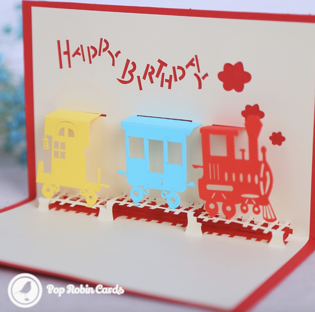 Happy Birthday Steam Train Handmade 3D Pop Up Card #3300
