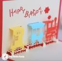 Happy Birthday Steam Train Handmade 3D Pop Up Card #3302
