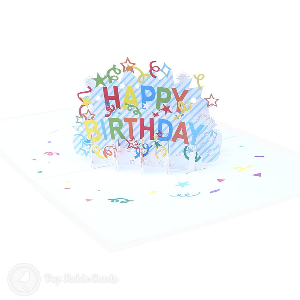 Happy Birthday Streamers 3D Handmade Card #3380