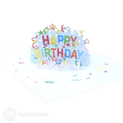 "This bright and colourful birthday card opens to reveal a 3D pop up design showing a ""Happy Birthday"" message surrounded by stars and streamers."