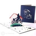 Parent & Child Riding On Bike 3D Pop Up Card #2910