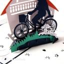 Parent & Child Riding On Bike 3D Pop Up Card #2911