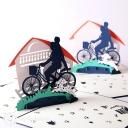 Parent & Child Riding On Bike 3D Pop Up Card #2914