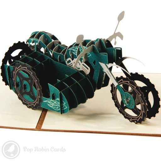 This awesome greetings card opens to reveal a 3D pop-up motorbike complete with a sidecar. The engine, treads and handlebars are all shown in detail, and the motorbike appears on the cover in a stencil design. This card is sure to impress any biker or motorbike fan.