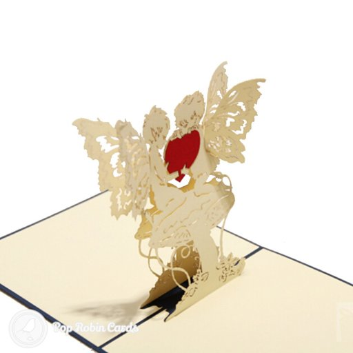 "This greetings card opens to reveal a 3D pop-up design showing two cherubic angels holding a red heart between them. The cover has a stencil design showing butterflies and the word ""Love""."