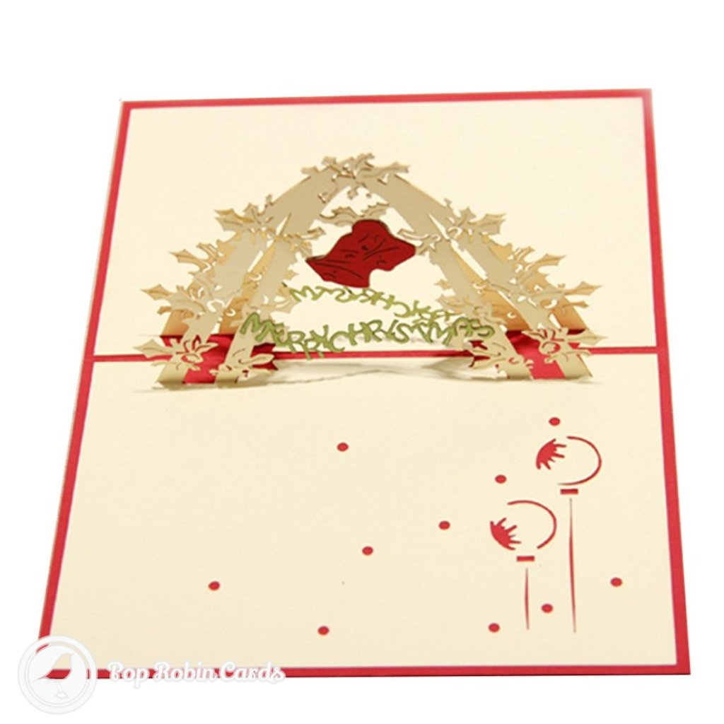 Holly Tree & Christmas Bell 3D Pop-Up Greeting Card 1750