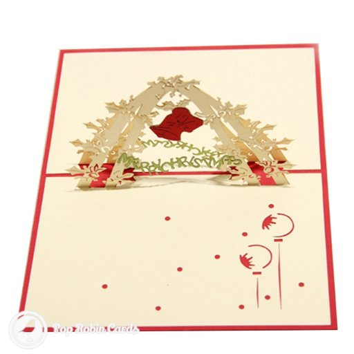 "This 3D pop-up Christmas card shows bright red Christmas bells over a ""Merry Christmas"" message. The cover has a stencil design also showing bells and the words ""Merry Christmas""."