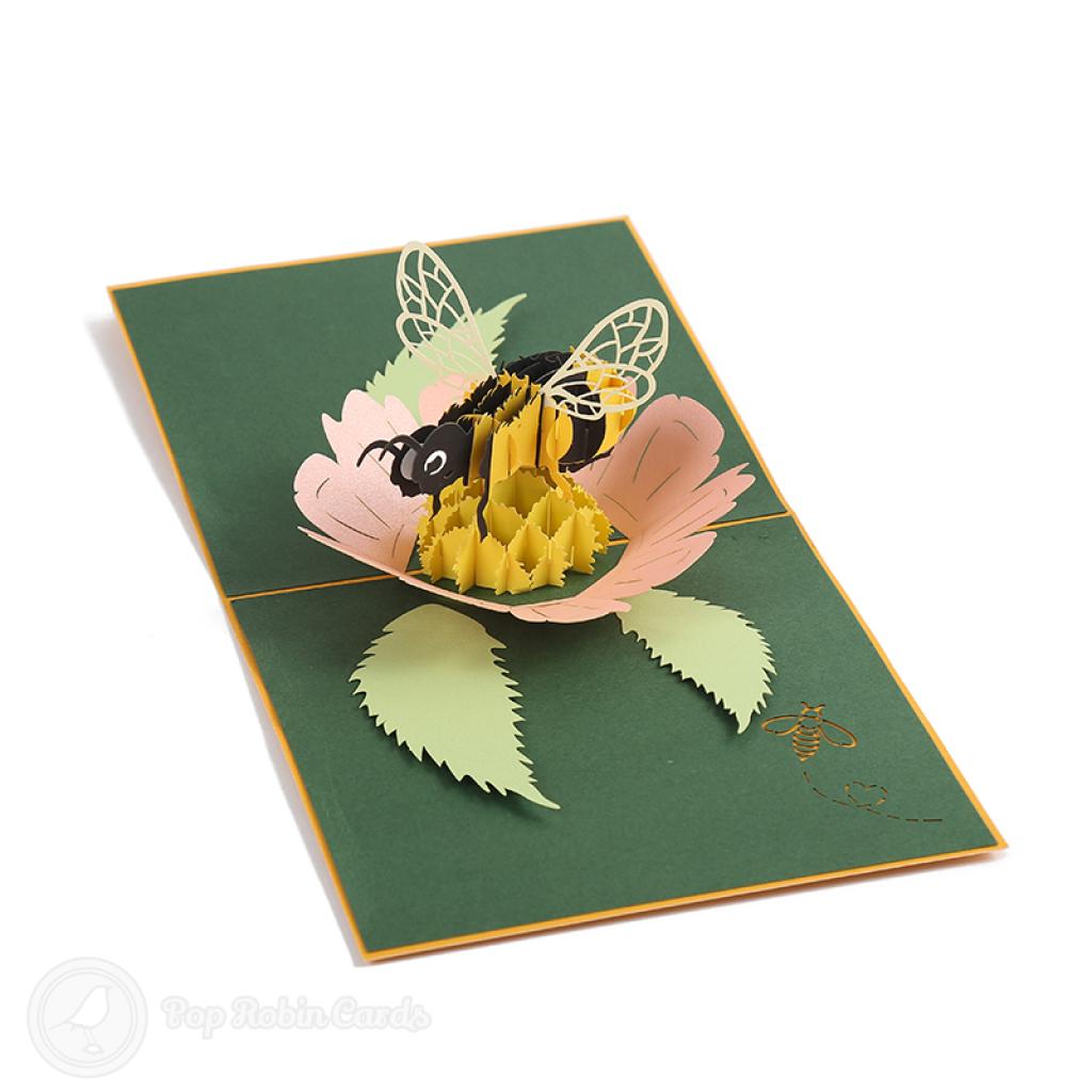Honey Bee Collecting Pollen 3D Handmade Pop Up Card #3760