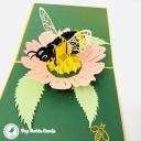 Honey Bee Collecting Pollen 3D Handmade Pop Up Card #3838