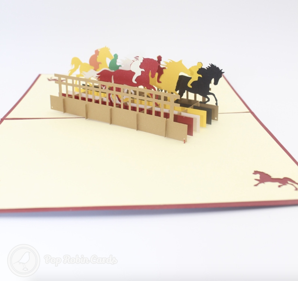 Horse Race 3D Handmade Pop Up Greeting Card #3395