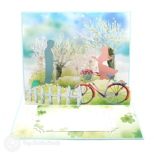 "This amazing card has a 3D pop-up design that moves! The couple move towards each other as a tab is pulled. The cover has a heart design with the words ""I do"", making it perfect for an engagement or a wedding."