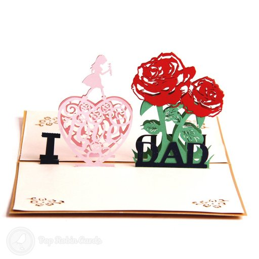 "This card is perfect for Father's Day or Dad's birthday with its 3D pop-up design showing the message ""I Love Dad"". The cover has a stencil design with a heart around the word ""Love""."