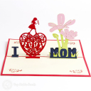'I Love Mom' Handmade 3D Pop Up Card #3133