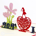 'I Love Mom' Handmade 3D Pop Up Card #3136