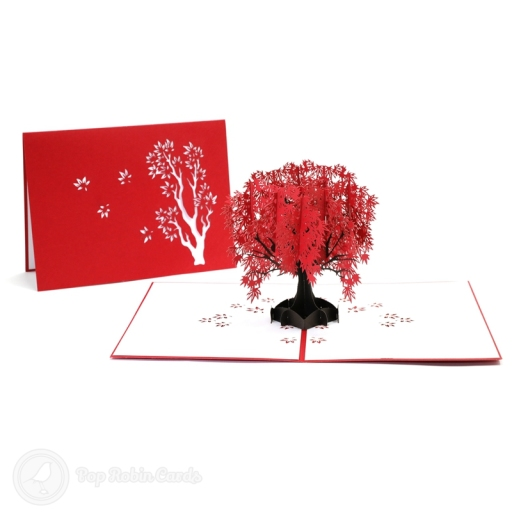 This beautiful card opens to reveal a stunning 3D pop up design showing a vivid red Japanese maple tree. The cover also has a stencil design showing the maple tree.