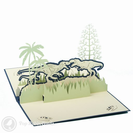 This amazing greetings card is sure to impress any dinosaur fan with its 3D pop-up design showing three different dinosaurs in an ancient jungle.