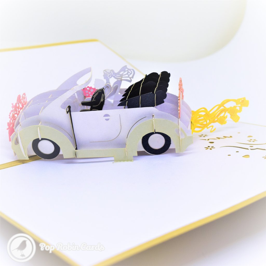 Just Married Congratulations Wedding Car Handmade 3D Pop-Up Card #2725