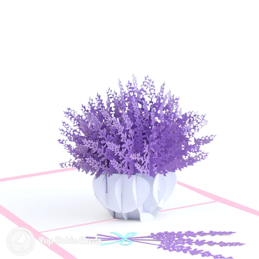 This beautiful card opens to reveal a 3D pop up design showing a bowl of lavender flowers in vivid purple, with a smaller bunch of lavender to the side. The cover has a stencil design showing a lavender plant.