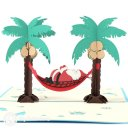 Lazy Santa On Tropical Holiday Handmade 3D Pop-Up Funny Christmas Card #2498