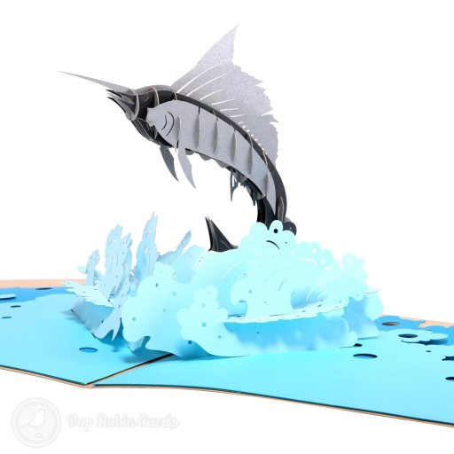 This stunning greetings card is sure to impress any oceanographer or fishing enthusiast with its amazing 3D pop up design showing a spectacular sword fish leaping between crashing waves. The cover has a stylish stencil design showing a swordfish motif.