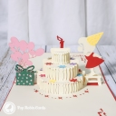 Little Girl Blowing Out Candles On Birthday Cake Card #3333