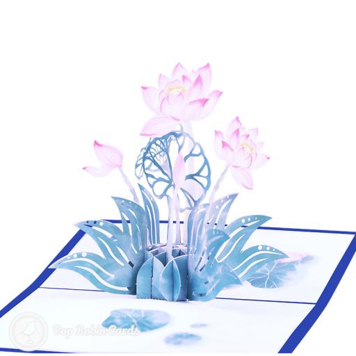 Lotus Pond Pop Up 3D Greetings Card