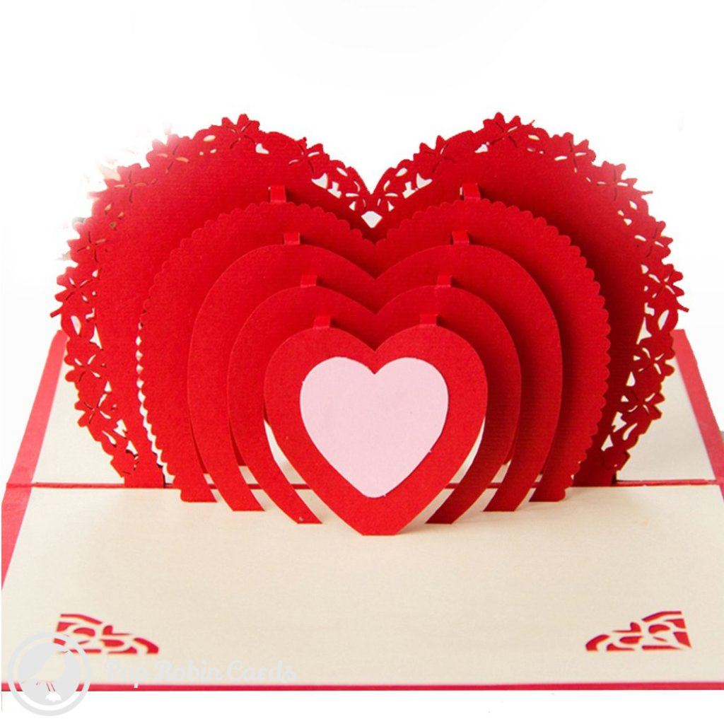 Love Heart Flower 3D Pop-Up Greetings Card 1288