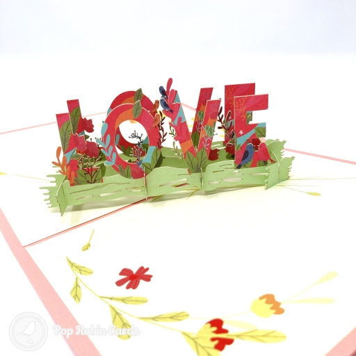 """This lovely greetings card opens to reveal a bold 3D pop up design with the word """"LOVE"""" surrounded by flowers and grasses in a green meadow. The cover has a coloured stencil design showing flowers and hearts."""