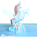 Prancing Unicorn In Clouds Handmade 3D Pop Up Card #3209