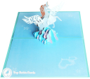 Prancing Unicorn In Clouds Handmade 3D Pop Up Card #3210